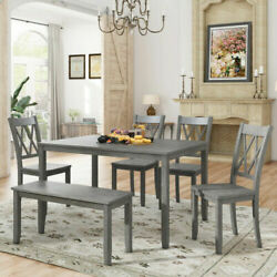 Us Dining Table Set With 4 Chairs 1 Bench 1table6pcs Rustic Farmhouse Style Wood