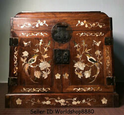 20old China Huanghuali Wood Inlay Shell 5 Drawer Flower Birds Jewelry Box Chest