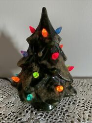 Vintage Ceramic Lighted Christmas Tree Small Size 7 Tall