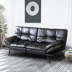 Black Faux Leather Sofa Bed Convertible Sleeper Couch Daybed Folding Armrests