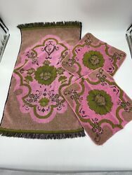 Vintage Lady Pepperell Usa Towels Hand Towel And Washcloths 3pc Set Pink Green