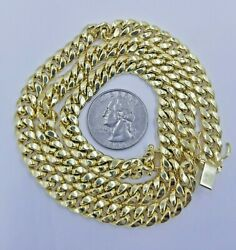 Real Gold Yellow 10k Necklace 8mm Miami Cuban Link Chain 28 Box Lock Men