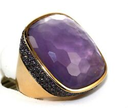 Natural Long Cushion Purple Amethyst And Sapphire Bezel Ring 18k Rose Gold 31.83ct