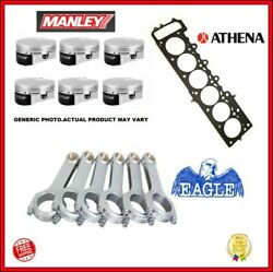 Wiseco 86.00mm Pistons + 3/8 H-beam Rod + 87 Mm Head Gasket For Bmw S50b30 Euro