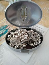 Vintage Heavy Creed Sterling Rosary With Mid-century Stainless Case 23 45 Grams