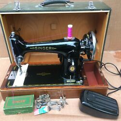 Vintage Singer Centennial 201k Electric Sewing Machine With Attachments.