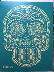Shepard Fairey Day Of The Dead Calavera Hand Painted Stencil Turquoise - Pp
