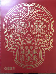 Shepard Fairey Day Of The Dead Calavera Hand Painted Stencil Red - Pp