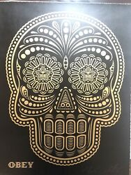 Shepard Fairey Day Of The Dead Calavera Hand Painted Stencil Black - Pp