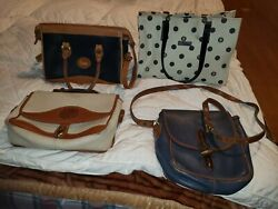 4 -vintage Dooney And Bourke All Weather Leather And Fabric Crossbody Bag Purse Lot