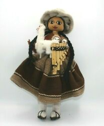 Peruvian Doll W Triplets Handmade Embroidered Folk Art Typical Native Clothes