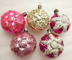 5 Old Vintage Russian Glass Christmas Ornaments Xmas Tree Decorations Snowflakes