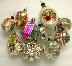 10 Rare Vintage Russian Glass Christmas Ornaments Xmas Tree Decorations Old Set
