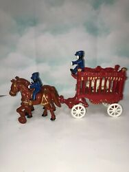 Vintage Cast Iron Overland Circus Cage Bear Wagon With Two Horse Team Toy