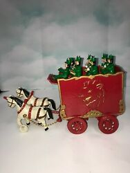Vintage Cast Iron Circus Band Wagon And Two Horse Team Toy