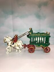 Vintage Pristine Cast Iron Circus Cage Wagon With Bear And Two Horse Team Toy