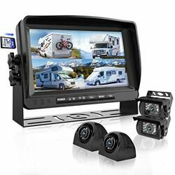 Backup Camera System With 9'' Large Monitor And Dvr For Rv Semi Box Truck