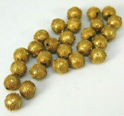 Lot Of 26 Estate 14k Yellow Gold Detailed Etruscan Beads 8mm Each 9.9 Grams