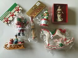 Lot of 4 Vintage wood ceramic Ornaments ALL NEW with Tags