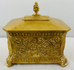 Antique Gilded Metal Jewelry Or Storage Box