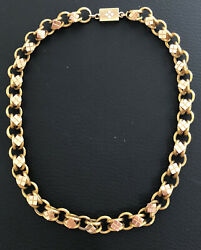 Antique Victorian Two Tone Higher Than 18k Rose And Yellow Gold Collar Necklace