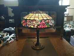Antique Miller Lamp M.l.co 242 Lamp-stained Glass Shade Selling Out Make Offer