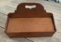 Antique 19th C. Cherrywood Dovetailed Double Lidded Cutlery/candle Box/tray.aafa