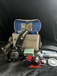 Vintage Black Body Canon A-1 Film Camera W/ 50mm Canon Lens And Power Winder Lot