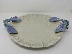 1970's Fitz And Floyd Art Nouveau Majolica Dragonfly Platter Iridescent Luster