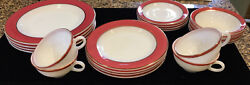 Pyrex Pink Flamingo Red Gold Trim 20 Dinner And Salad Plates, Cup, Bowls, Saucers