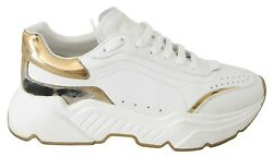 Dolce And Gabbana Shoes Sneakers White Leather Sport Casual Mens Eu43.5 / Us10.5