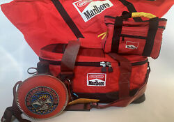 Vtg Marlboro Unlimited Gear Lot 2 Coolerssmall And Large,duffle Bag And Canteen