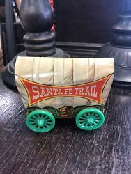 Vntage Tin Litho Santa Fe Trail Western Covered Wagon By Us Metal Toy Co