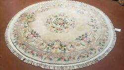 6ft Round Rug Vintage Chinese Carving Carpet 6x6 Hand-knotted Wool Beige Flowers