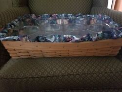 Longaberger Large Hostess Serving Tray Basket With 2 Protectors and Fabric Liner
