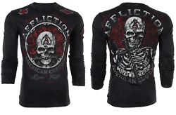 Affliction Menand039s Long Sleeve T-shirt Rest In Grease Black Tattoo Biker S-3xl
