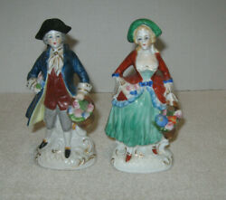 """Vtg Victorian/colonial Couple 2 Figurines Each 6"""" Tall Made In Occupied Japan"""