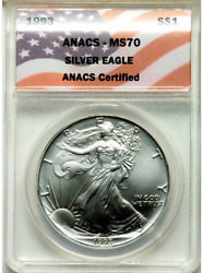 1993 Ms 70 American Silver Eagle Extremely Rare In This Grade Flawless