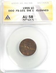 1955 Ddo Doubled Die Obverse Lincoln Cent Penny 1c Anacs Au58 Details Cleaned