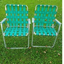 Vintage Aluminum Webbed Folding Lawn Chairs Camping Set 2 Metal Arm Square Tube