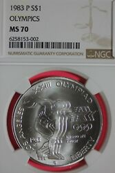1983 P Ms 70 Olympics Commemorative Silver Dollar Ngc Graded Certified Oce 546