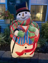Usa Santaand039s Best Large 45 Blow Mold Lighted Outdoor Snowman With Carrot Nose