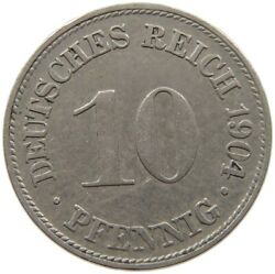Germany Empire 10 Pfennig 1904 D Error D Nearly Invisible S68 191