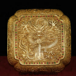 10.2 Qianlong Marked Old Chinese Copper Gold Gilt Inlay Gem Dragon Jewelry Box