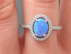 Neu Silberring Ring 925 Sterling Silber Silver Blau Opal Bague Anello Argent