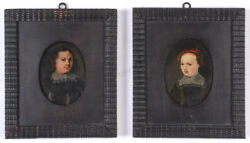 Portraits Of Husband And Wife Two German Oil On Copper Miniatures 1630/40