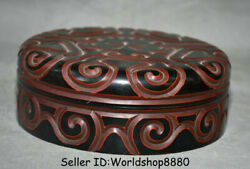 8.2 Marked Antique China Red Lacquerware Dynasty Flower Round Jewelry Box Boxes