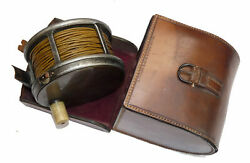 Farlow 4-1/2 Brass Faced Antique Salmon Fly Reel + Farlow Leather Case And Sil...