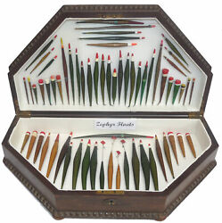 Collection Of 63 Zephyr Patent Rolled Paper Floats In Vintage Wooden Display Box