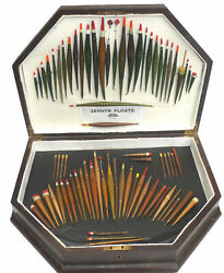 A Fine Collection Of 75 Zephyr Patent Rolled Paper Floats In Wooden Display Case